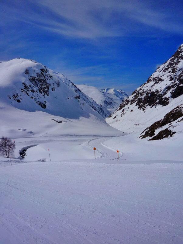 Snowy mountain scene